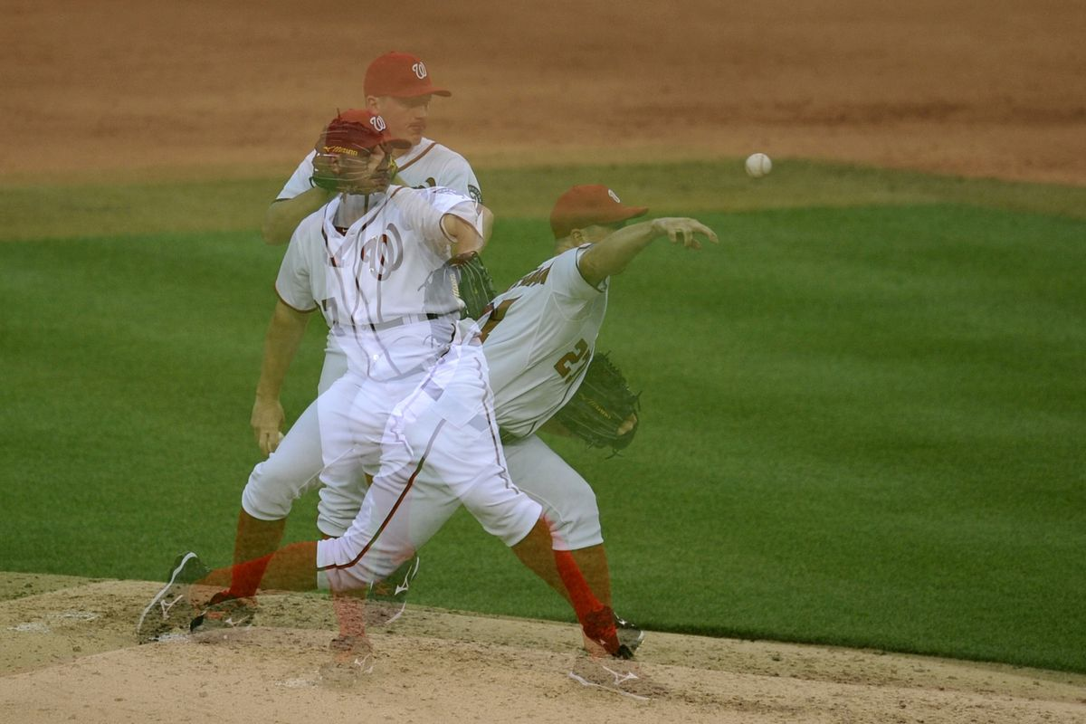 July 18, 2012; Washington, D.C., USA; Washington Nationals starting pitcher Jordan Zimmermann (27) pitches in the third inning against the New York Mets at Nationals Park. Mandatory Credit: Joy R. Absalon-US PRESSWIRE
