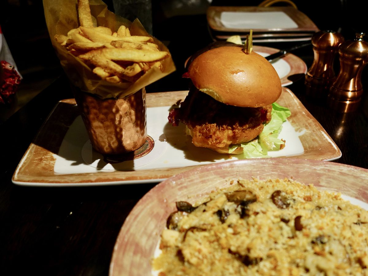Burger and fries at Toothsome Chocolate Emporium & Savory Feast Kitchen