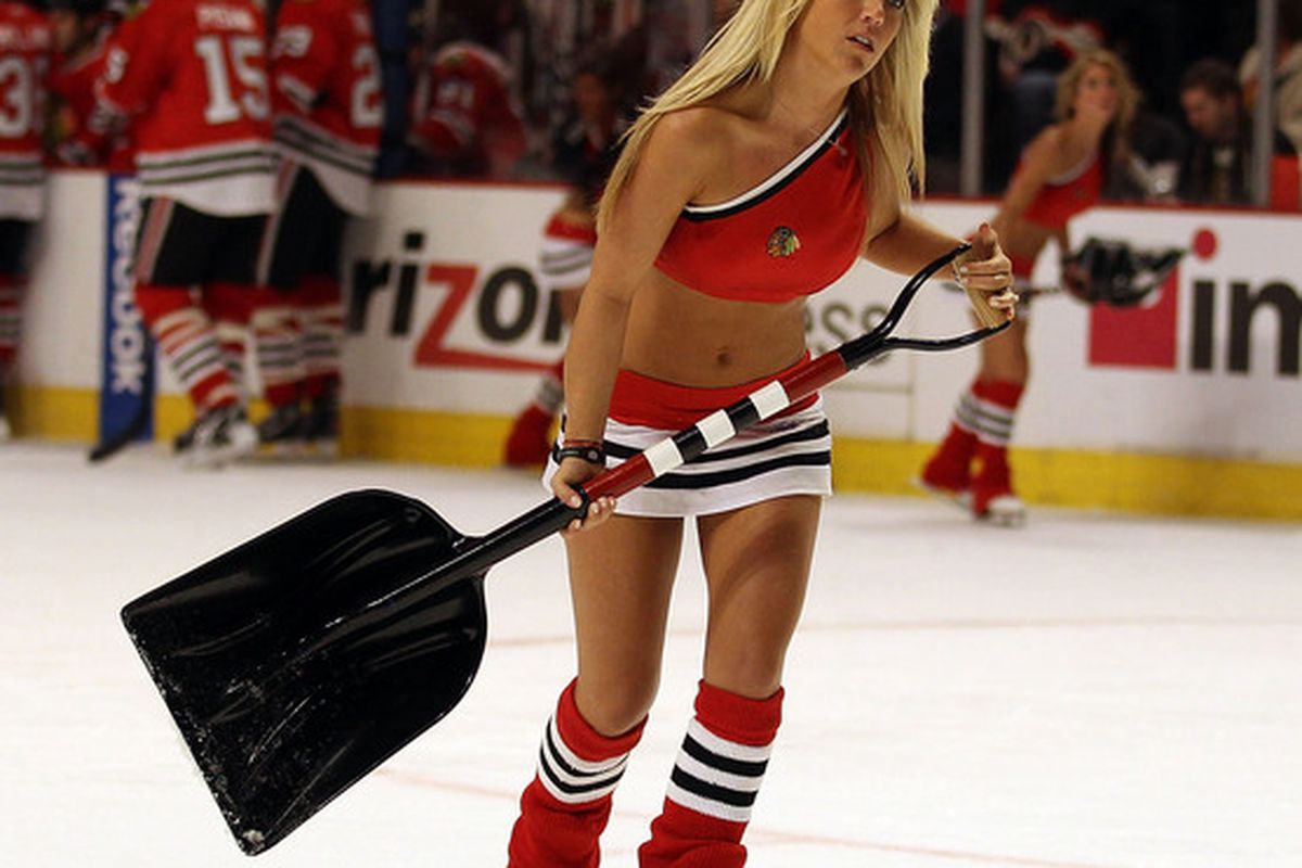 A member of the Ice Crew reacts to the news that she too has been demoted to Dave Bolland's line.
