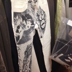 Acne printed white jeans, $109 (was $350)