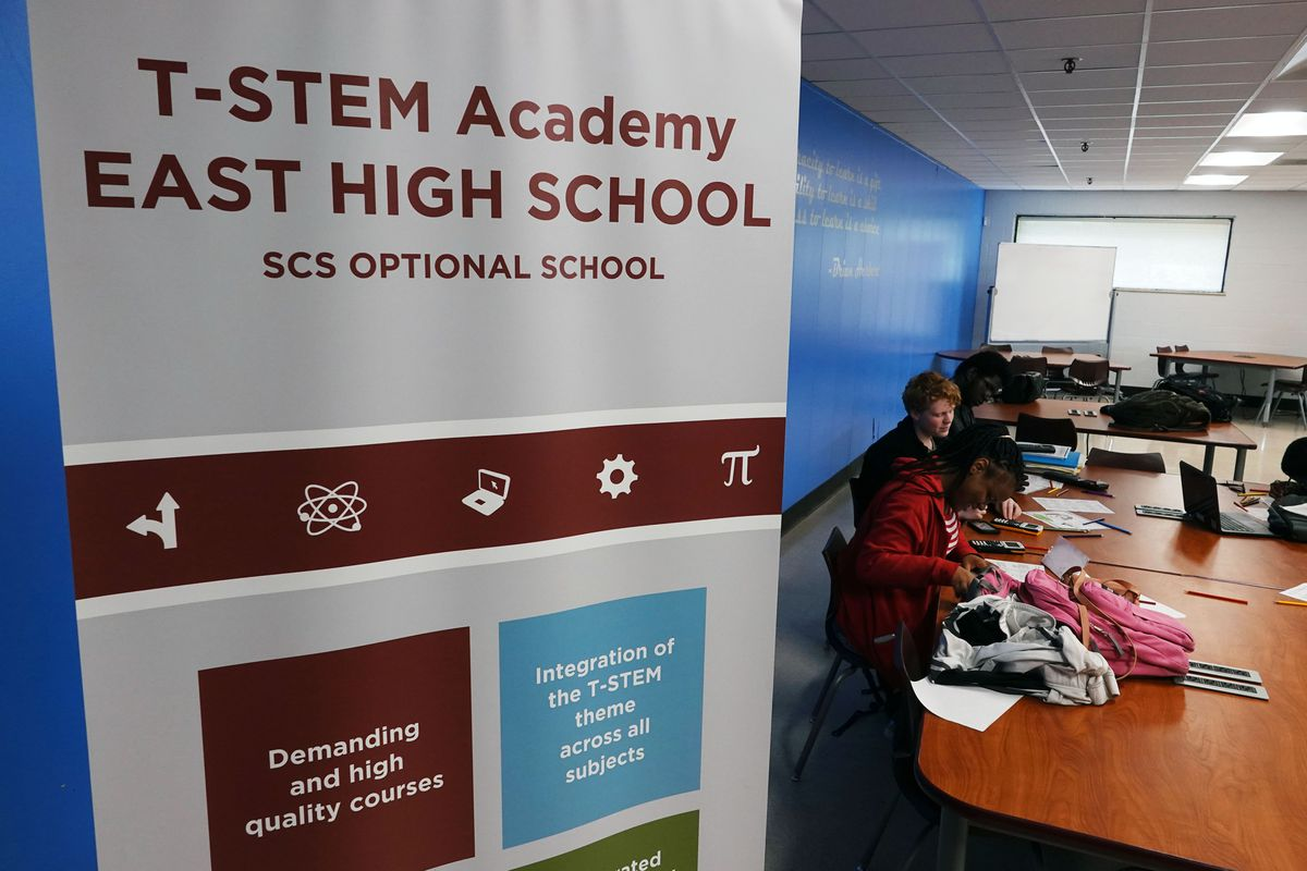 East High School is one of 46 optional schools offered by Shelby County Schools, where students can apply to take specialized  studies. The focus at East High is T-STEM, which stands for transportation, science, technology, engineering, and math.
