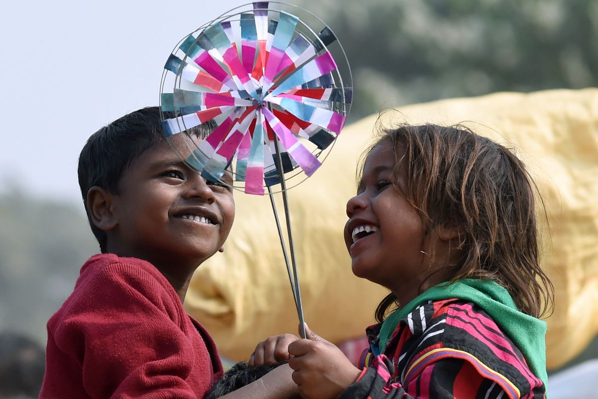 Children at a festival in Nepal, where the average life expectancy at birth has almost doubled since 1960.