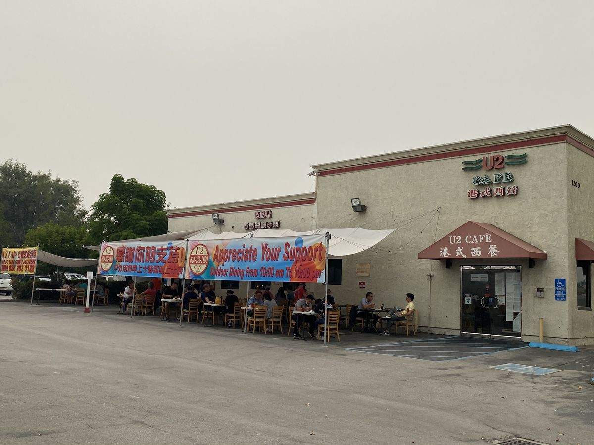 Outdoor dining setup in parking lot in San Gabriel Valley
