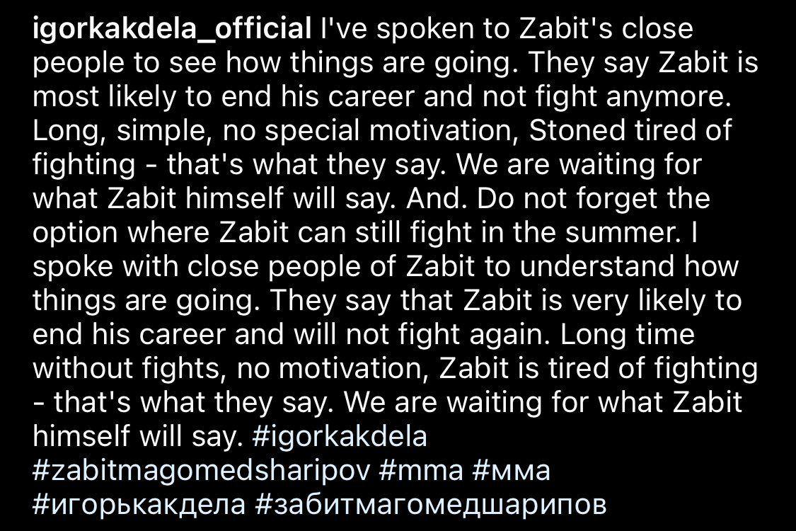 Zabit Magomedsharipov considering walking away from the UFC - Magomedsharipov