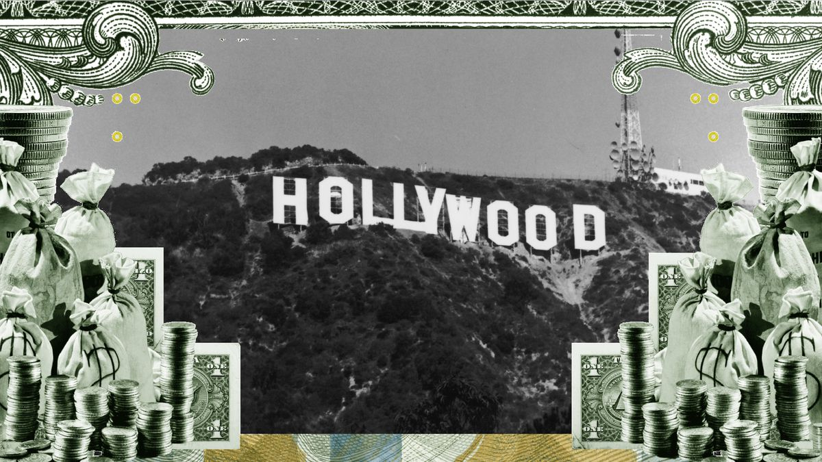 The Hollywood sign in LA, with symbols of money surrounding it.