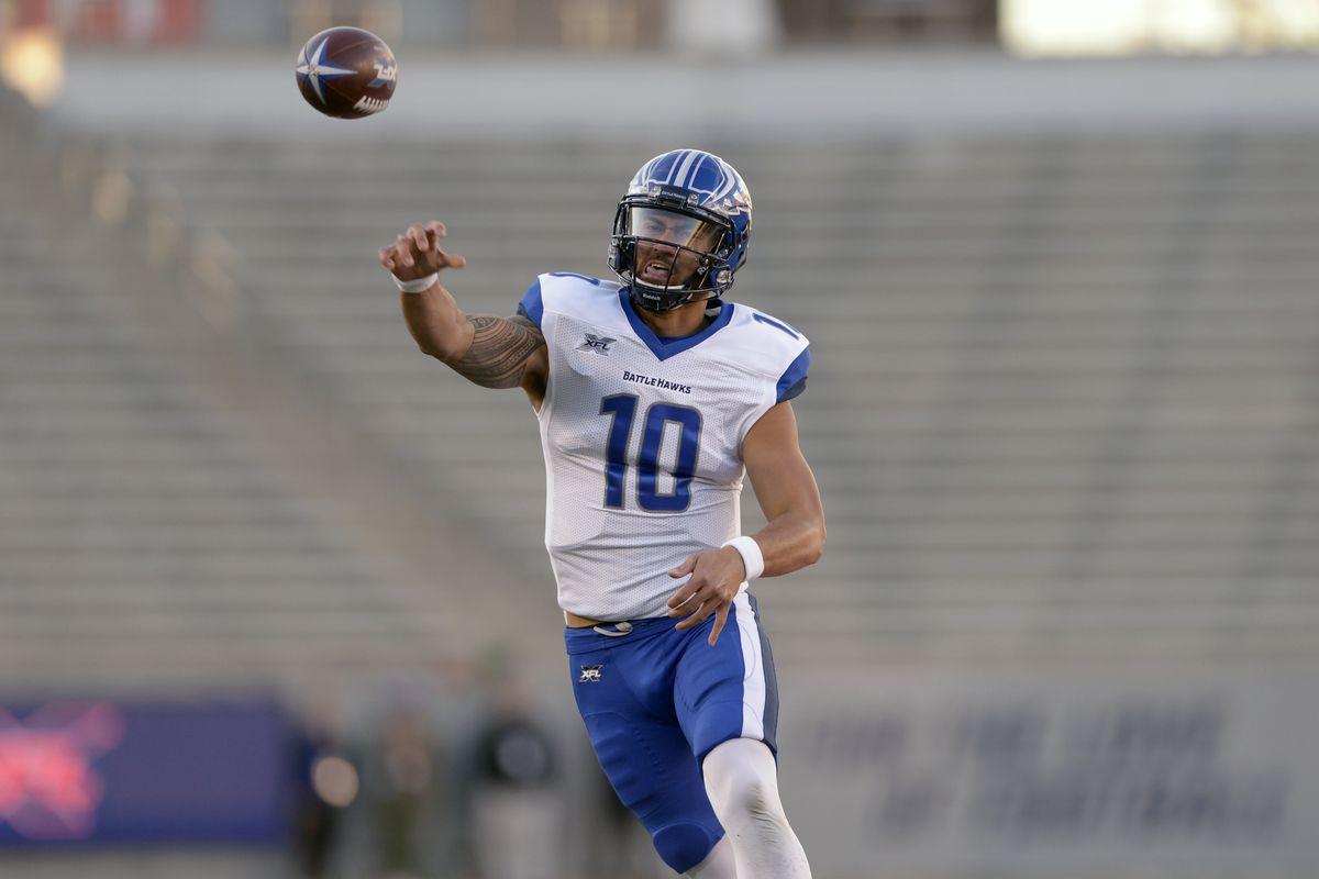St. Louis BattleHawks quarterback Jordan Ta'amu throws the ball during practice.