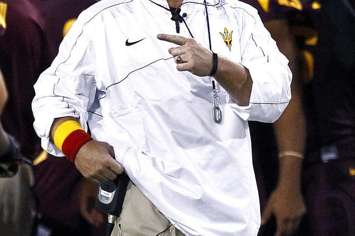 Arizona State head coach Todd Graham calls a play during the first half of an NCAA college football game against Illinois, Saturday, Sept. 8, 2012,in Tempe, Ariz.
