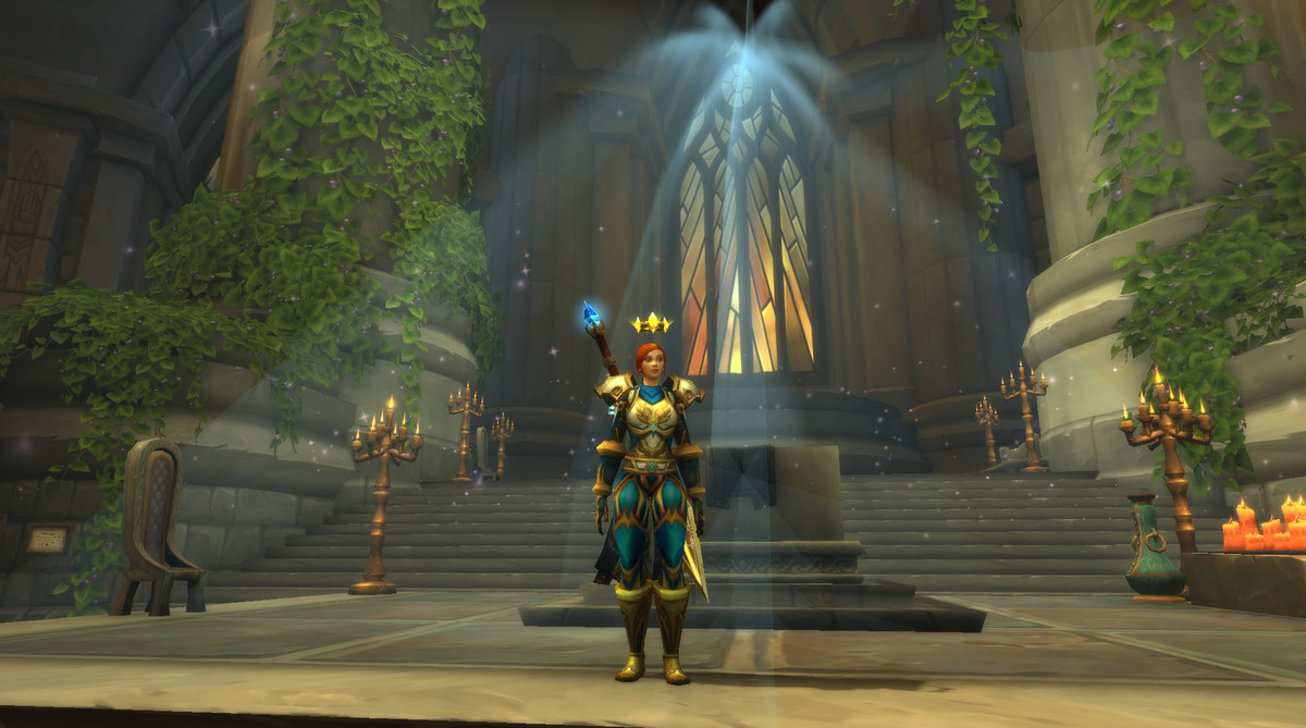 World of Warcraft - a paladin stands in the class order hall.
