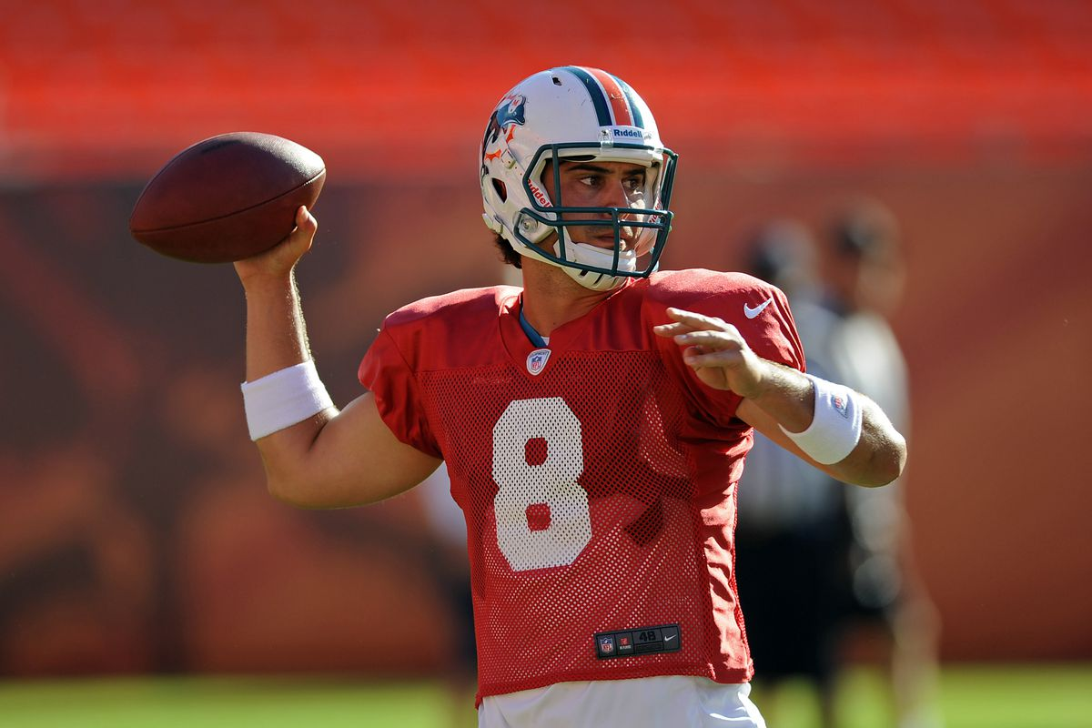 Miami Dolphins quarterback Matt Moore moved into the number one slot on the depth chart this week.
