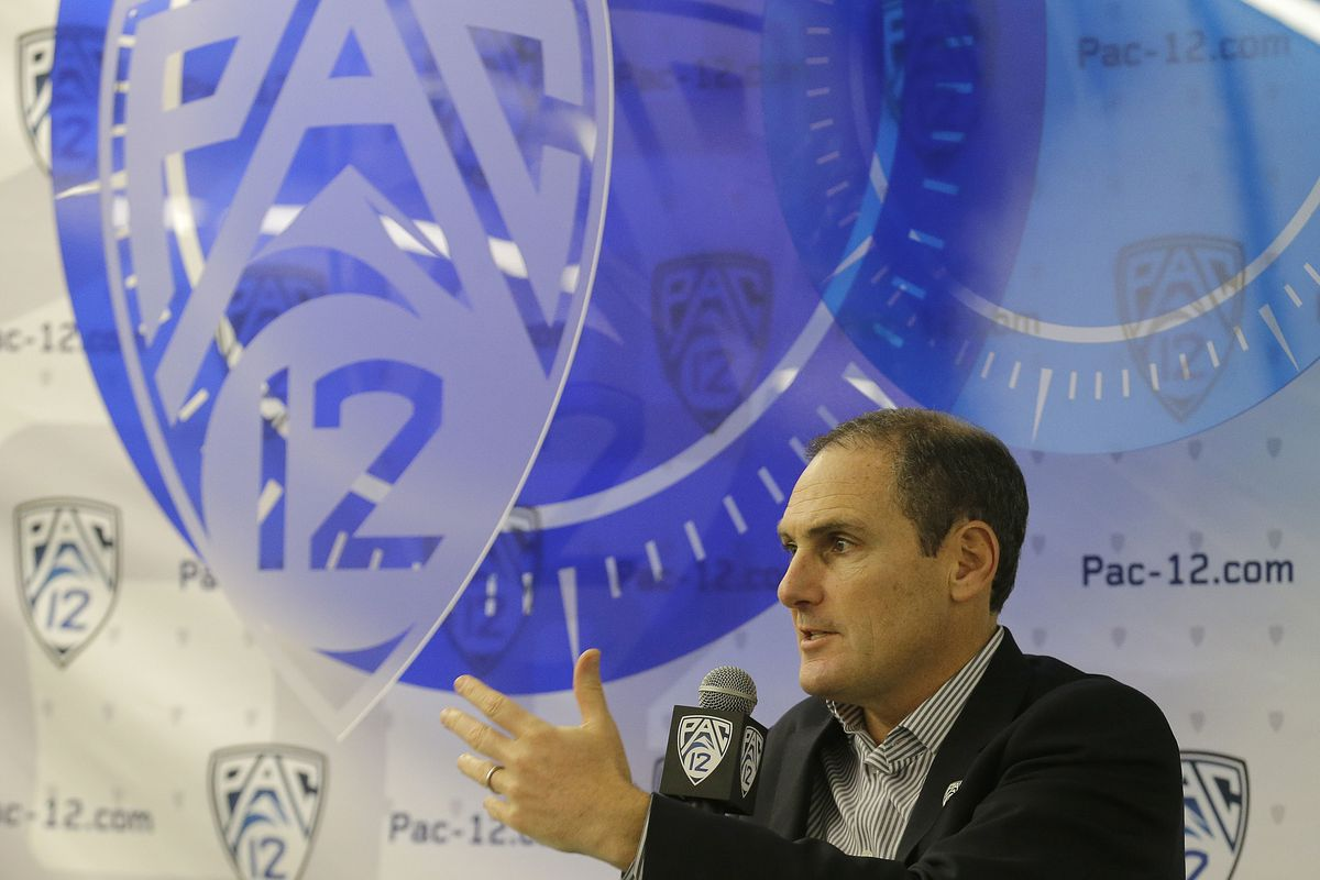Larry Scott, Pac-12 commissioner, speaks during NCAA college basketball Pac-12 media day in San Francisco, Thursday, Oct. 20, 2016. While the league, dubbed the Conference of Champions, has won more NCAA titles than any other conference in the country, it