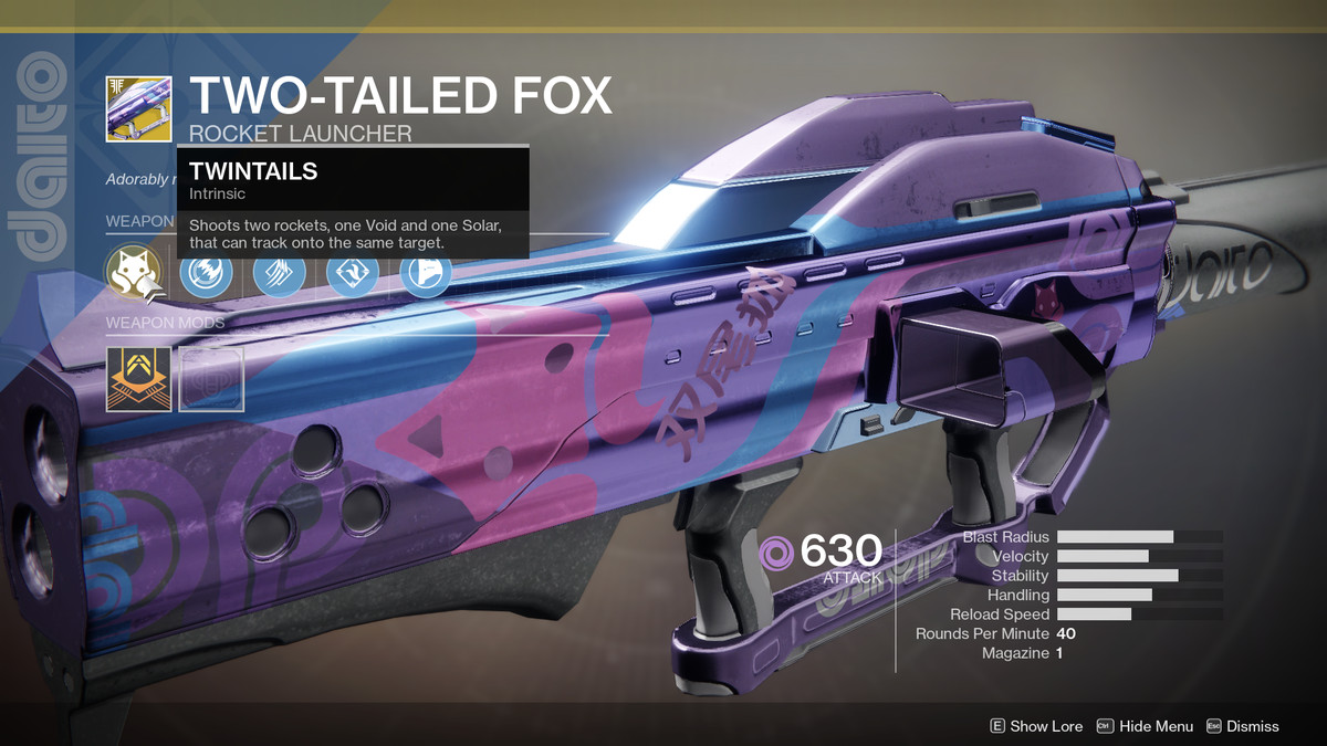 Two-tailed Fox Exotic Destiny 2