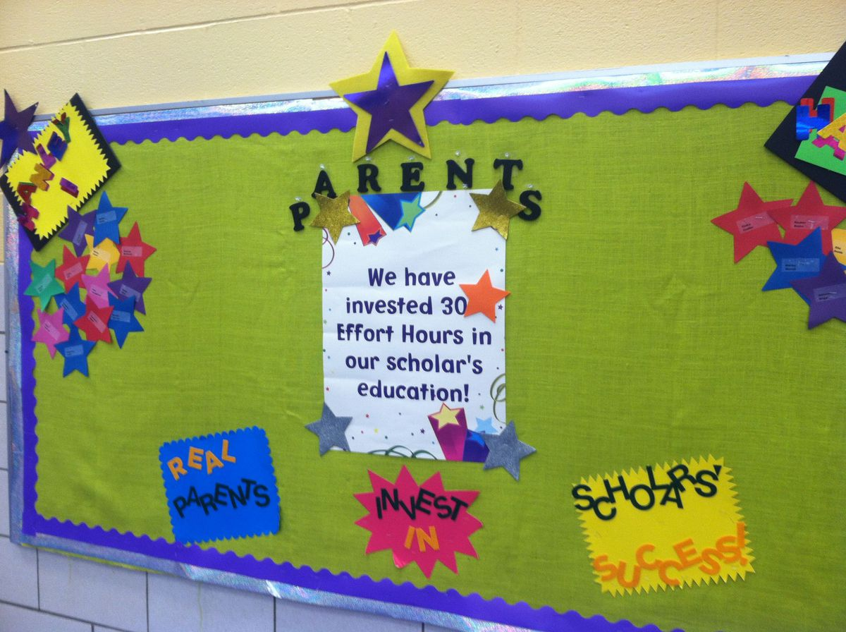 A parent bulletin board marks which parents have already volunteered more than 30 hours at Aspire Hanley elementary schools.