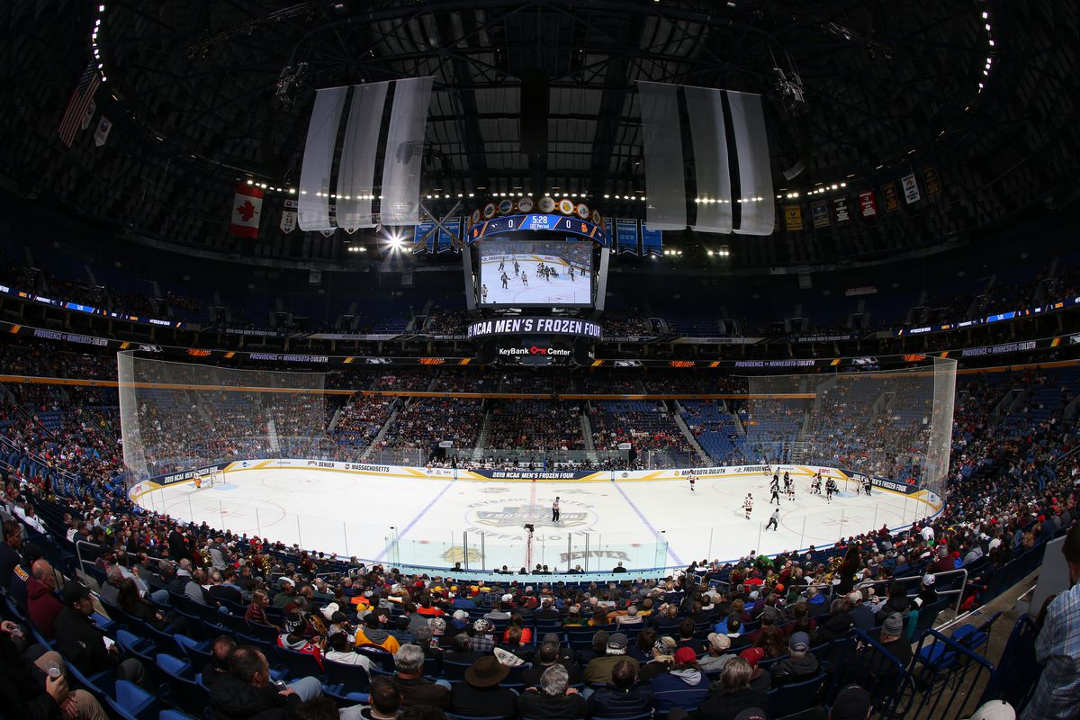 An overall view during the Division I Men's Ice Hockey Semifinals between the University of Minnesota Duluth Bulldogs and the Providence Friars held at KeyBank Center on April 11, 2019 in Buffalo, New York.