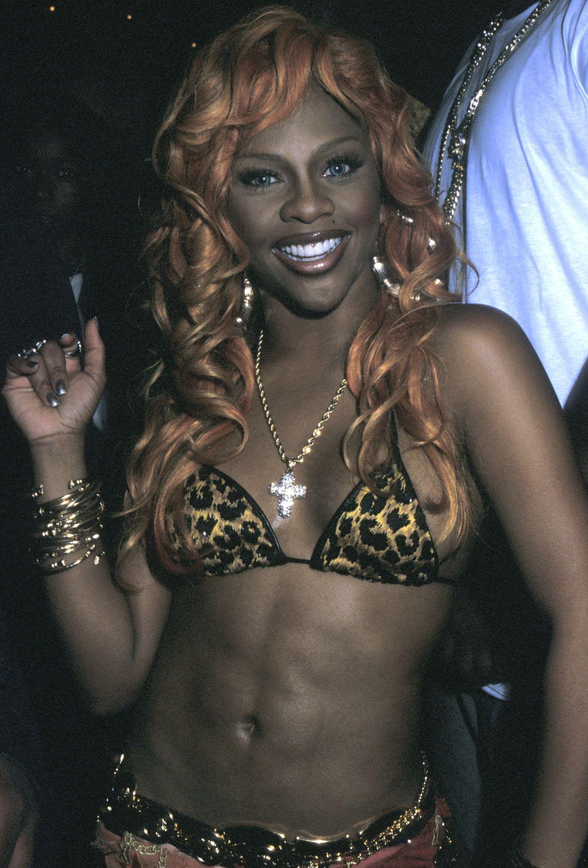 2549c3b6db3d66 Lil' Kim in a leopard-print bikini top. Photo: Ron Galella/WireImage/Getty