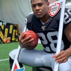 Josh Jacobs at the NFLPA Rookie Premiere