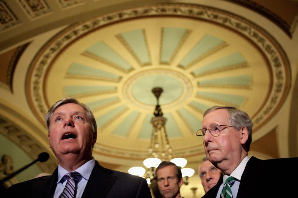 Senators Lindsay Graham (R-SC) and Mitch McConnell (R-KY) at a press conference in 2013.