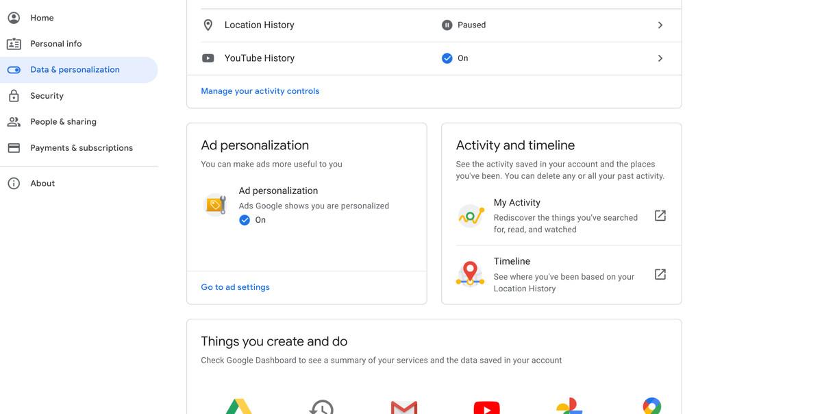 A screenshot of Google's Data and Personalization tab.