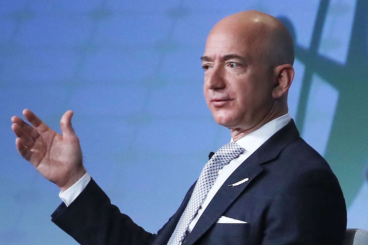 Jeff Bezos, CEO of Amazon and founder of Blue Origin, speaks during the Access Intelligence's SATELLITE 2017 conference at the Washington Convention center on March 7, 2017. in Washington, D.C.