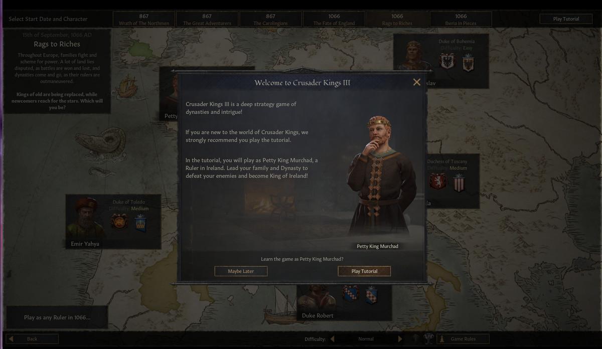 A tutorial screen in Crusader Kings 3