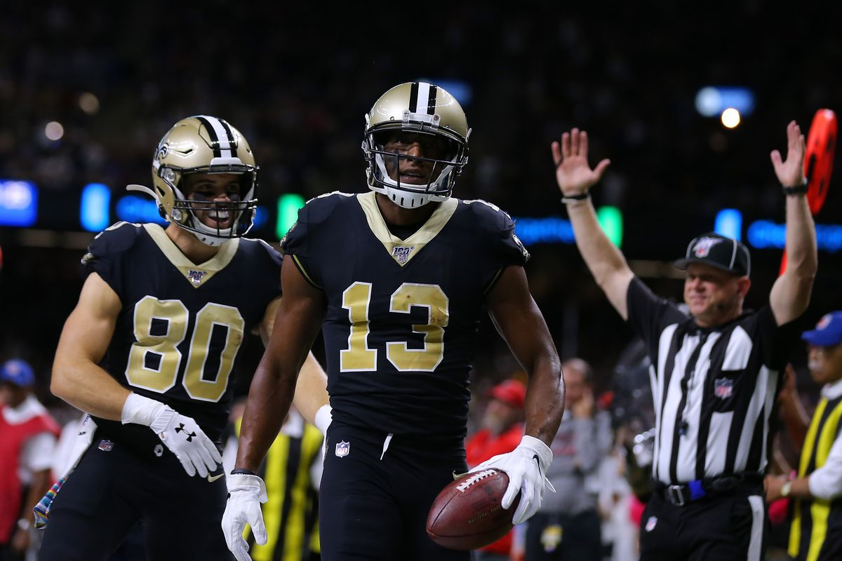 Michael Thomas #13 of the New Orleans Saints celebrates a touchdown during the first half of a game against the Tampa Bay Buccaneers at the Mercedes Benz Superdome on October 06, 2019 in New Orleans, Louisiana.