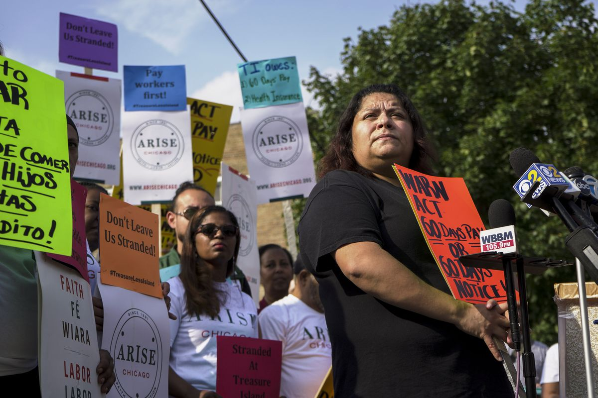 """Sandra Roman, a Treasure Island worker for 22 years, said, """"Without notice, they let us go and didn't even give us a paycheck."""" 