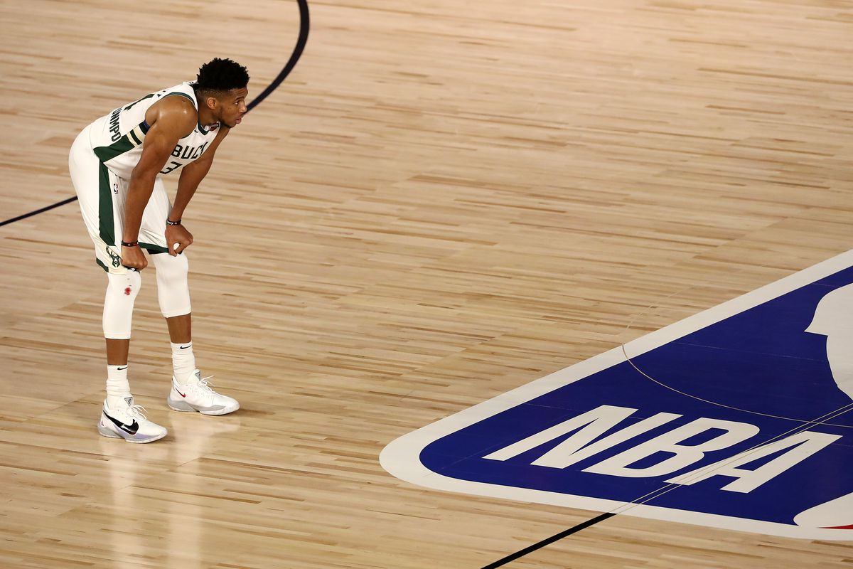 Giannis Antetokounmpo of the Milwaukee Bucks on the court during the fourth quarter against the Miami Heat in Game Three of the Eastern Conference Second Round during the 2020 NBA Playoffs at the Field House at the ESPN Wide World Of Sports Complex on September 04, 2020 in Lake Buena Vista, Florida.