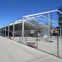 Parking tent, partially covered -