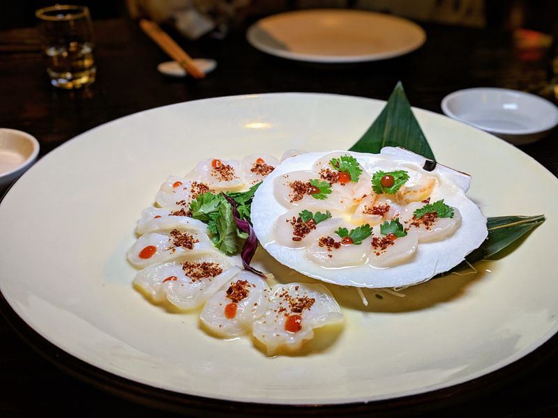 Raw sliced scallop at Nobu at Caesar's Palace