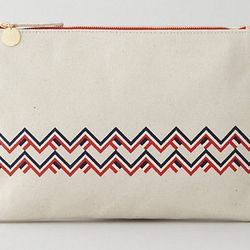 """<b>Clare Vivier</b> Flat Clutch in Canvas and Chevron, <a href=""""http://www.stevenalan.com/Flat-Clutch/84867,default,pd.html#cgid=womens-shoes-and-accessories-bags-slgs&view=all&frmt=ajax&start=0&hitcount=102"""">$104</a> at Steven Alan"""