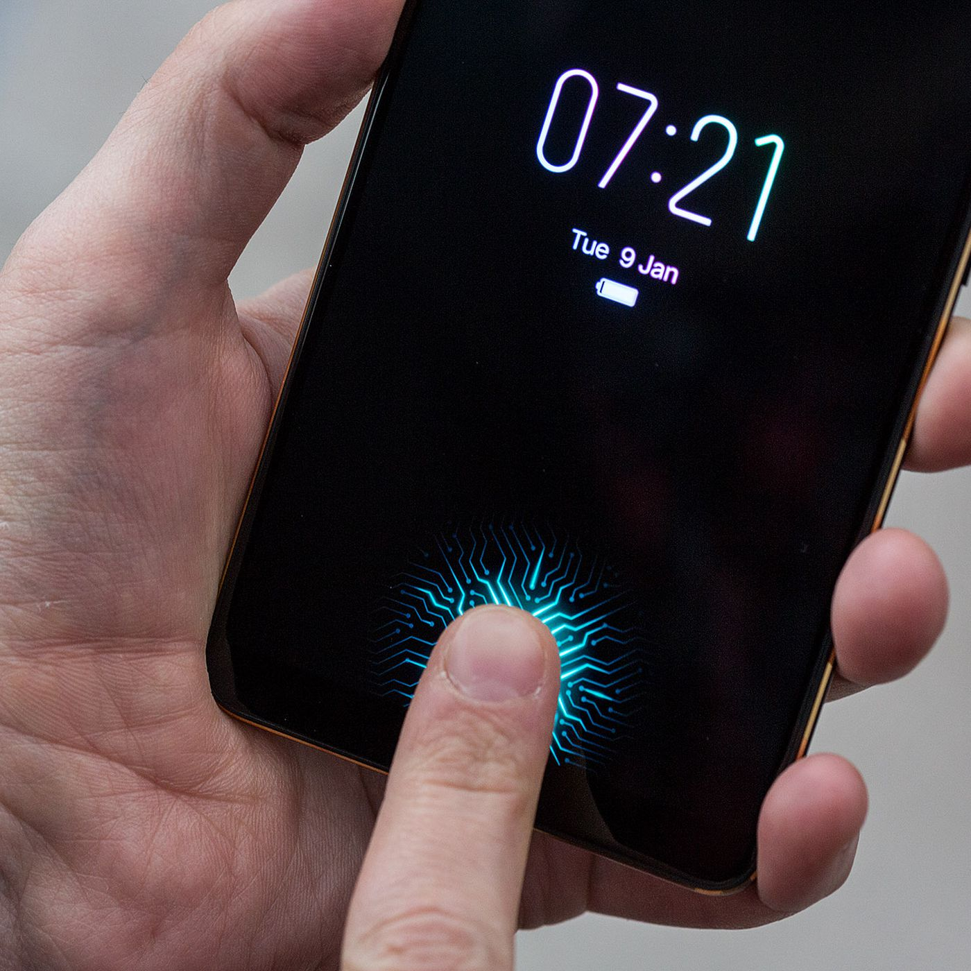 I tried the first phone with an in-display fingerprint
