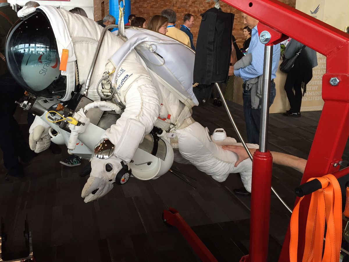 The suit Alan Eustace used for his record-setting jump, on display at TED2015, where it was a popular spot for selfies