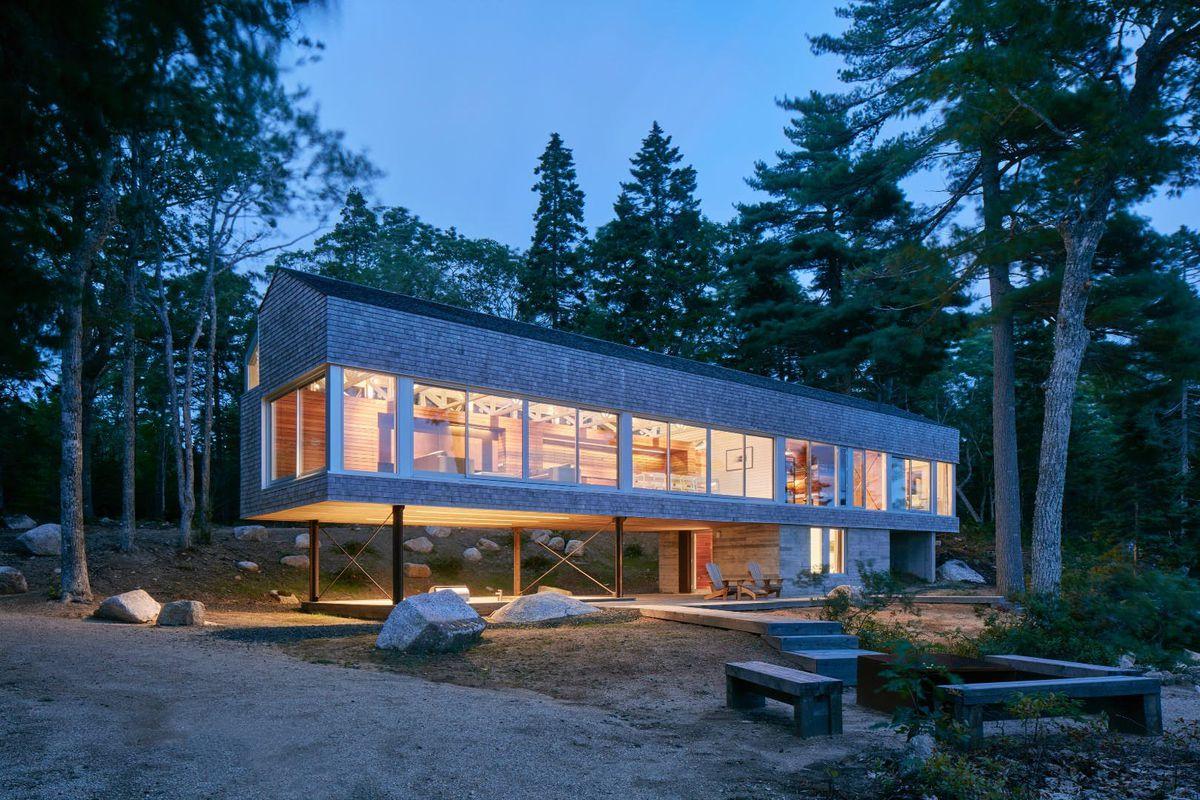 modern house with carport under