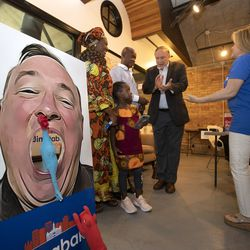 Former state Sen. Jim Dabakis visits with supporters at his Salt Lake City mayoral primary election night event at Trolly Square on Tuesday, Aug. 13, 2019.