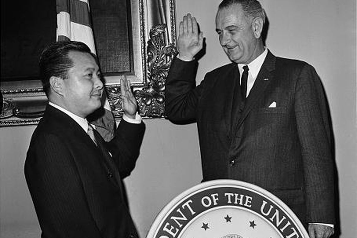Vice President Lyndon Johnson administers the oath of office to Sen. Daniel Inouye of Hawaii in a re-enactment of the ceremony in Washington, D.C., in 1963.