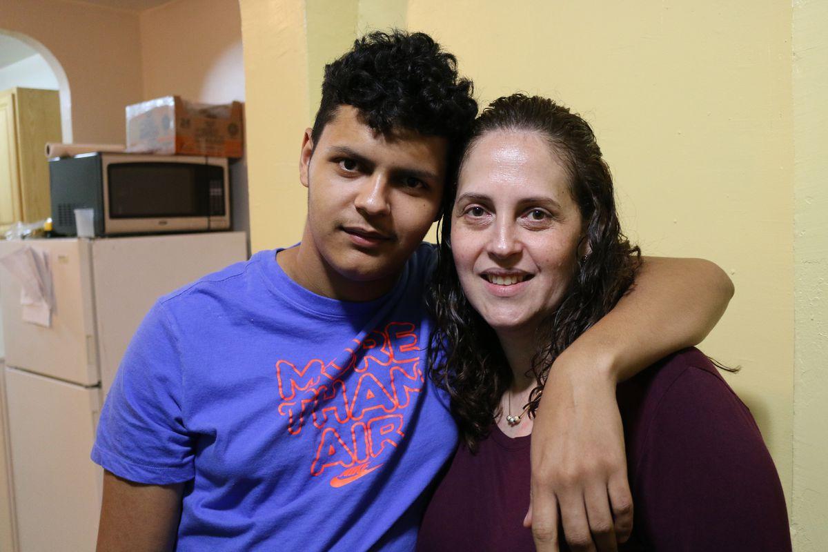 Neifi Jorge (left) and Luz Montesino at their Bronx apartment.