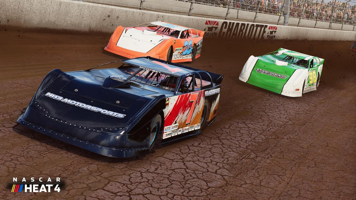 Screenshot of three modified dirt track cars in a tight turn at Charlotte Motor Speedway's dirt track in NASCAR Heat 4