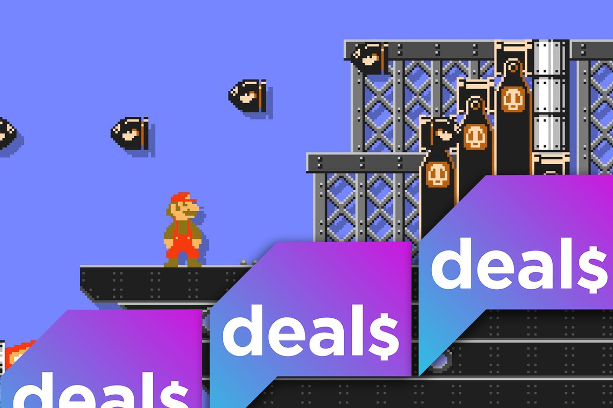 A screenshot from Mario Maker 2 overlaid with the Polygon Deals logo