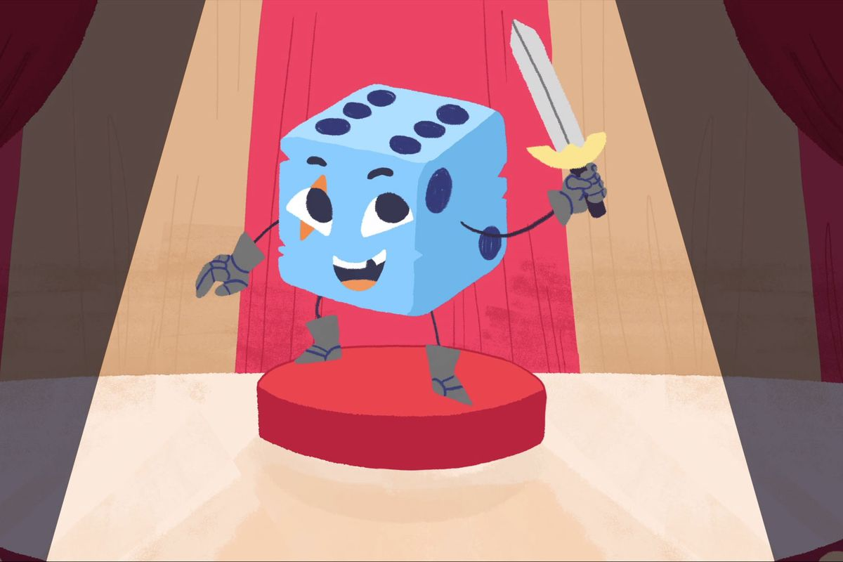 A cute and cartoon dicey dressed up like a warrior with a sword