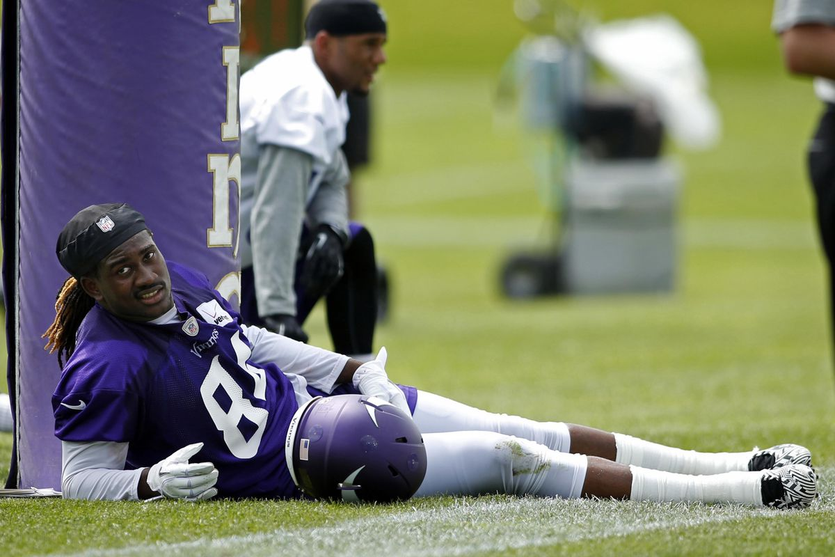 Cordarrelle Patterson should spend a lot of the next couple of days like this. . .off of his feet.