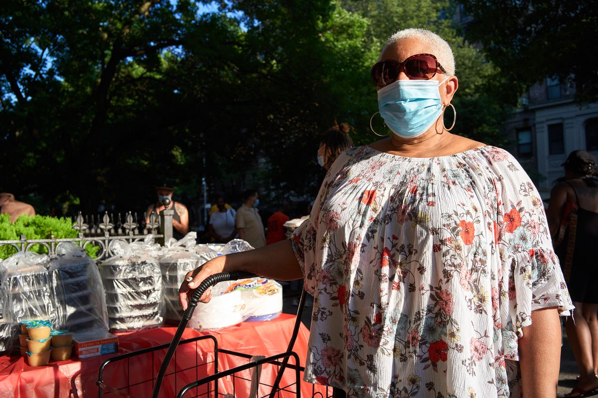 """""""I grew up where everyone knows everyone,"""" said Selina Jones, 72, about the importance of holding a block party on her stretch of St. John's Place in Brooklyn during the coronavirus, Aug. 10, 2020."""