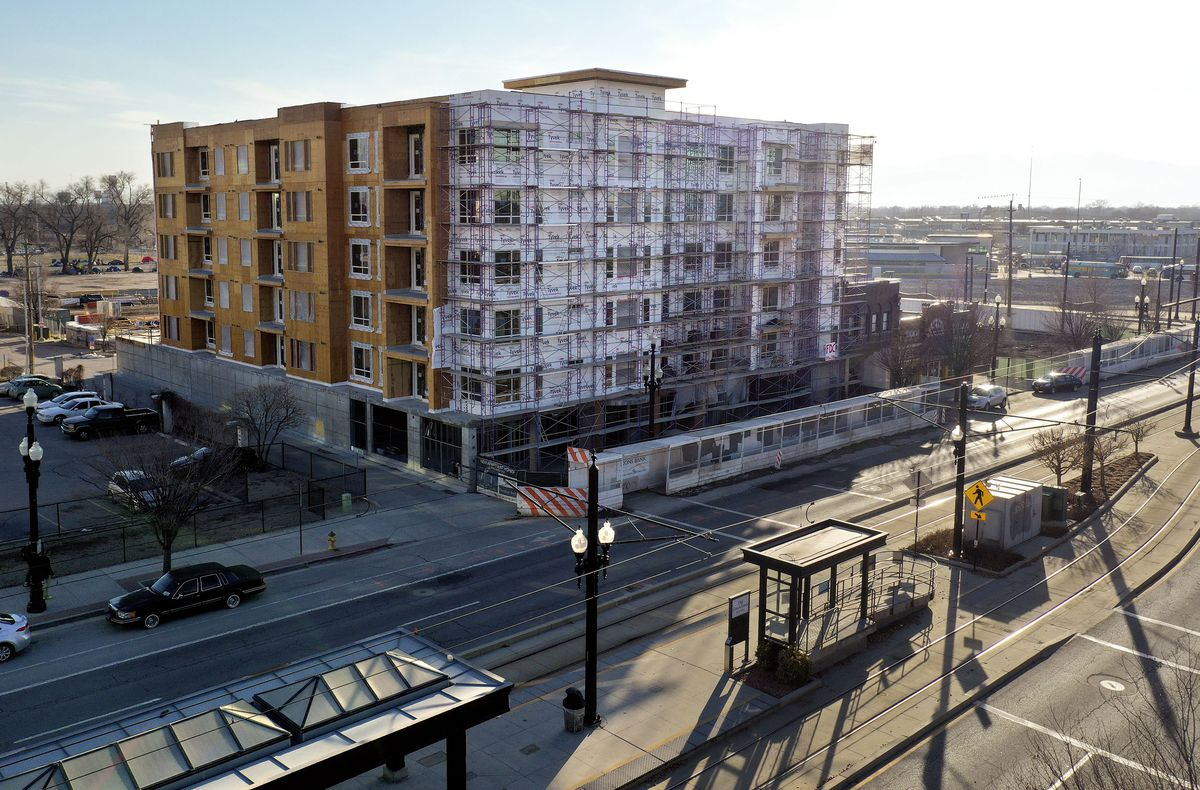 Kier Construction continues work on Central Station, a development by Gardner Batt, at 549 W. 200 South in Salt Lake City on March 2, 2021. The 65-unit affordable apartment community will have studio, one-, two-, three- and four-bedroom apartments.