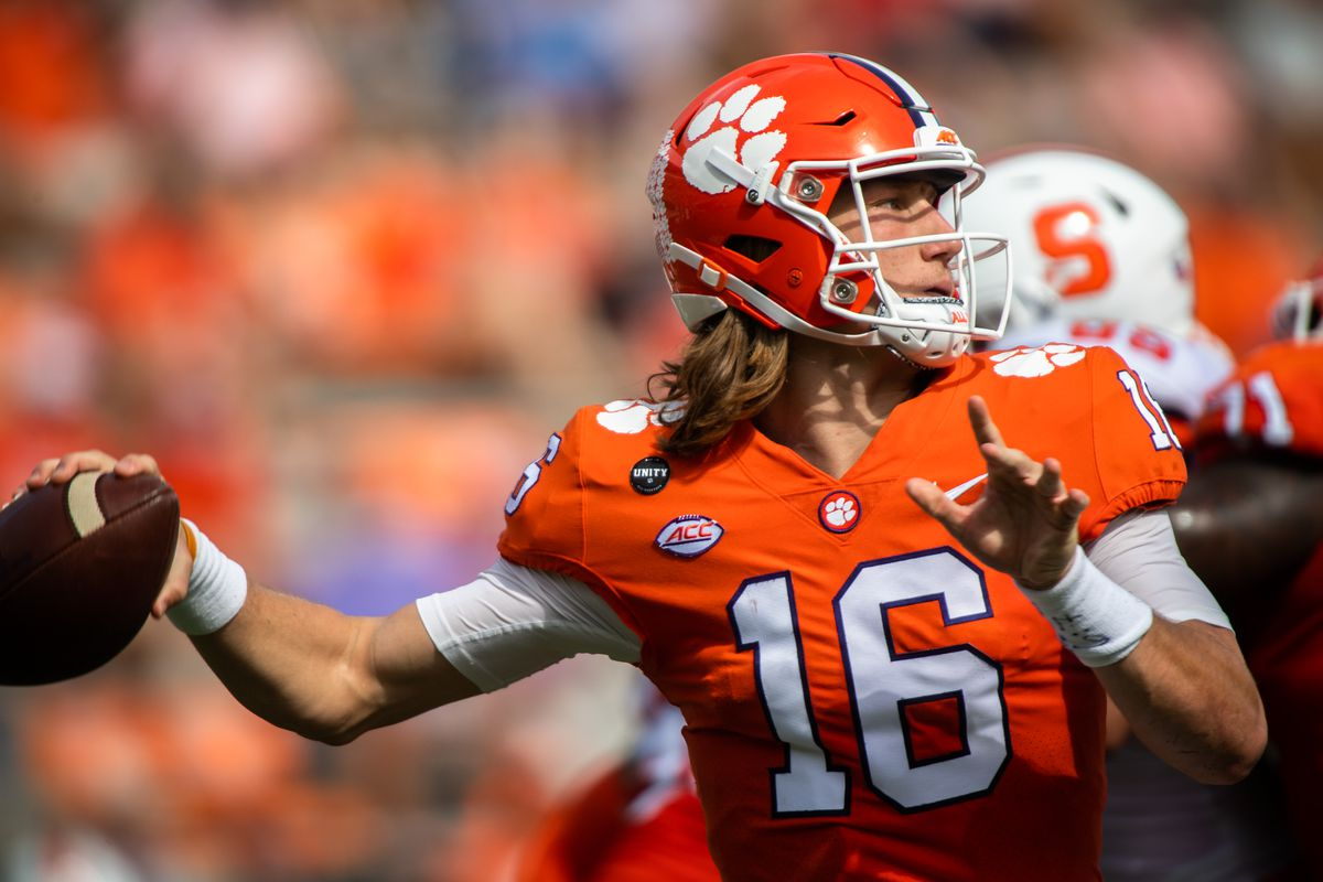 Clemson quarterback Trevor Lawrence (16) makes a pass during their game in the second half against Syracuse at Memorial Stadium.