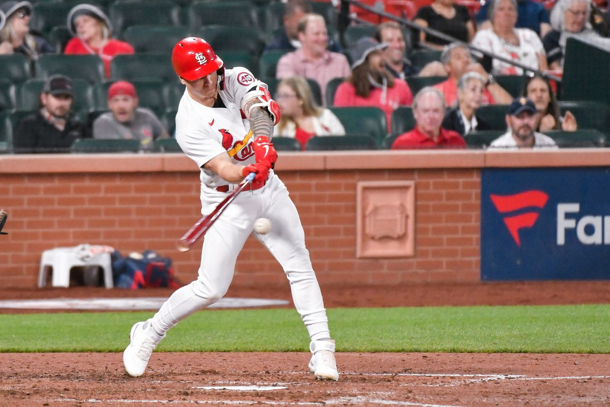 St. Louis Cardinals left fielder Tyler O'Neill (27) hits the ball during a game featuring the Cleveland Indians at the St. Louis Cardinals on June 08, 2021 at Busch Stadium in St. Louis, Mo.