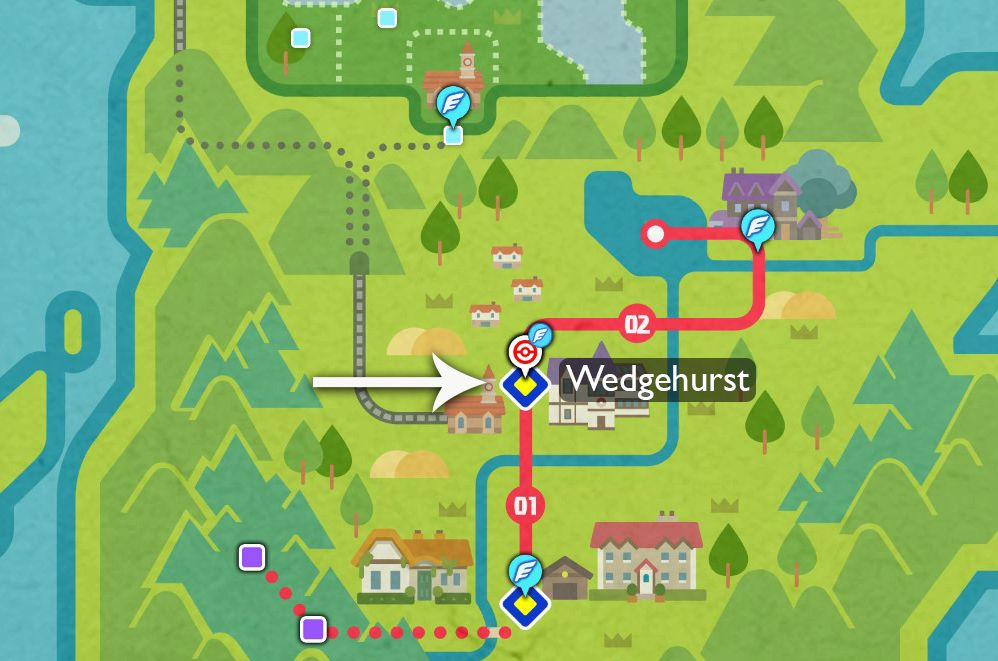 A map pointing to Wedgehurst in the Galar region