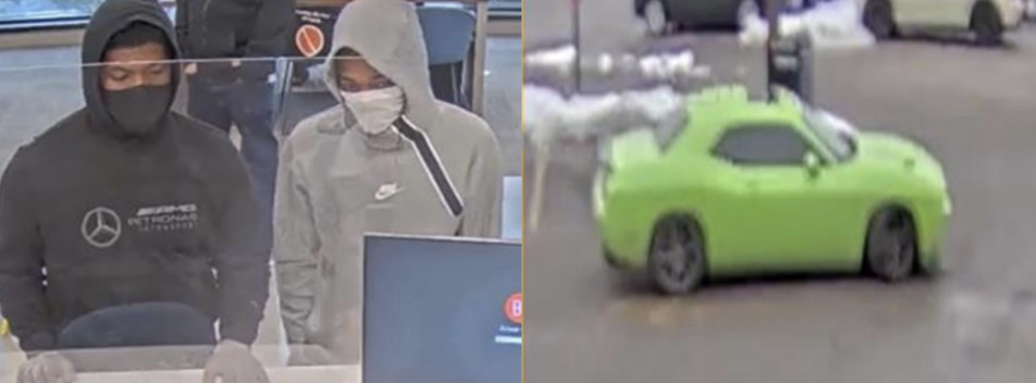 The suspects and green Dodge Challenger wanted in connection with a bank robbery Jan. 4, 2021, at the Byline Bank in Wilmette.