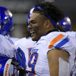 Boise State linebacker Curtis Weaver smiles after Utah State was forced to punt during the first half of an NCAA college football game Saturday, Nov. 23, 2019, in Logan, Utah.