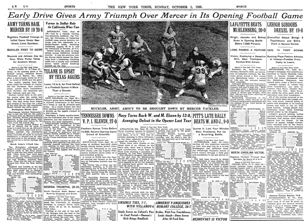 New York Times post game of Army versus Mercer in 1933
