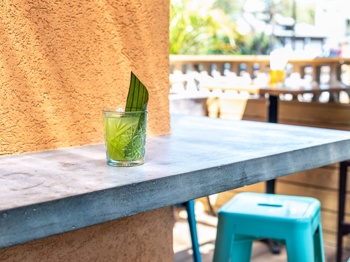 A cocktail on the outside bar