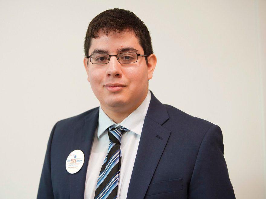 "30th Ward aldermanic candidate Edgar ""Edek' Esparza at the Sun-Times Jan. 4.   Rich Hein/Sun-Times"