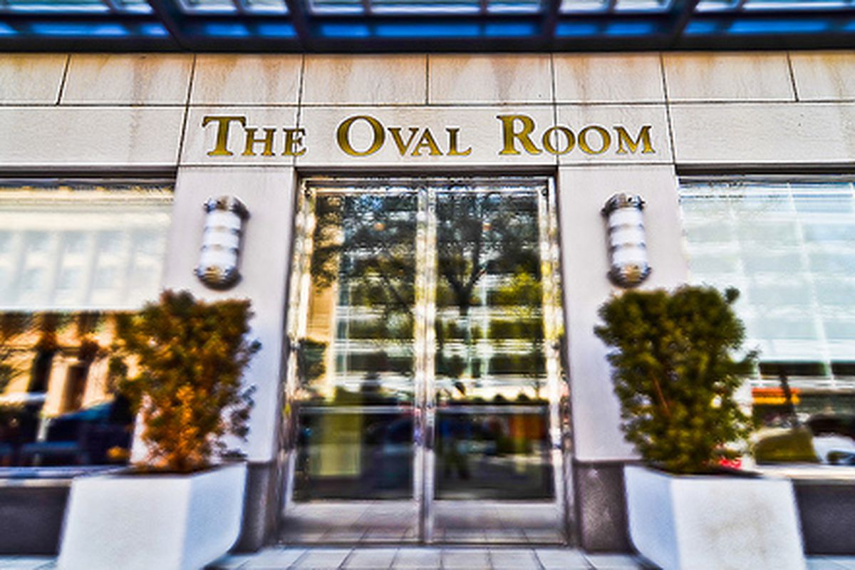 The front doors at the Oval Room
